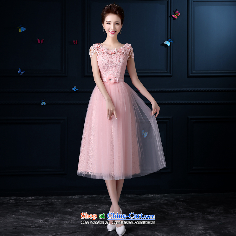 The privilege of serving-leung 2015 new evening dresses bridesmaid Services Mr Ronald Pink dresses in bridesmaid long moderator dress female�E 605- lace shoulders�XL