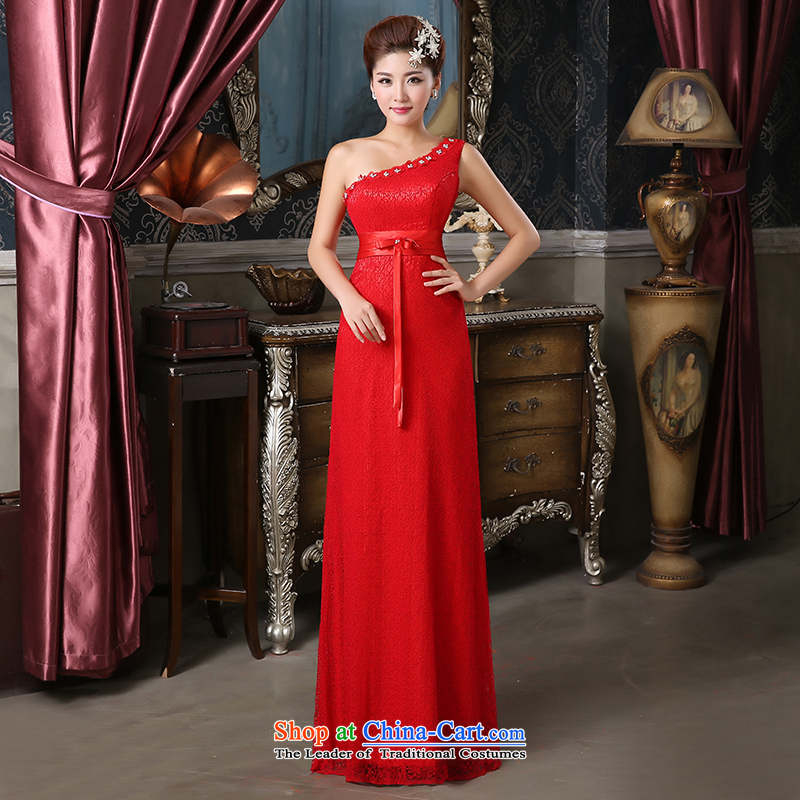 Pure Love bamboo yarn bridal dresses long dresses Princess Bride skirt rose red dress frockcoat shoulder and back-dresses bride American Red燣