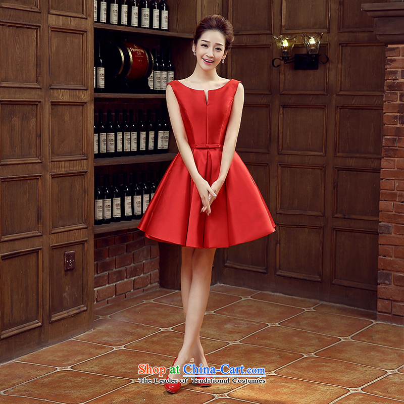 Evening dress the new 2015 Spring/Summer bride bows wedding dress uniform length of red shoulders bridesmaid SERVICES ARE RED?M