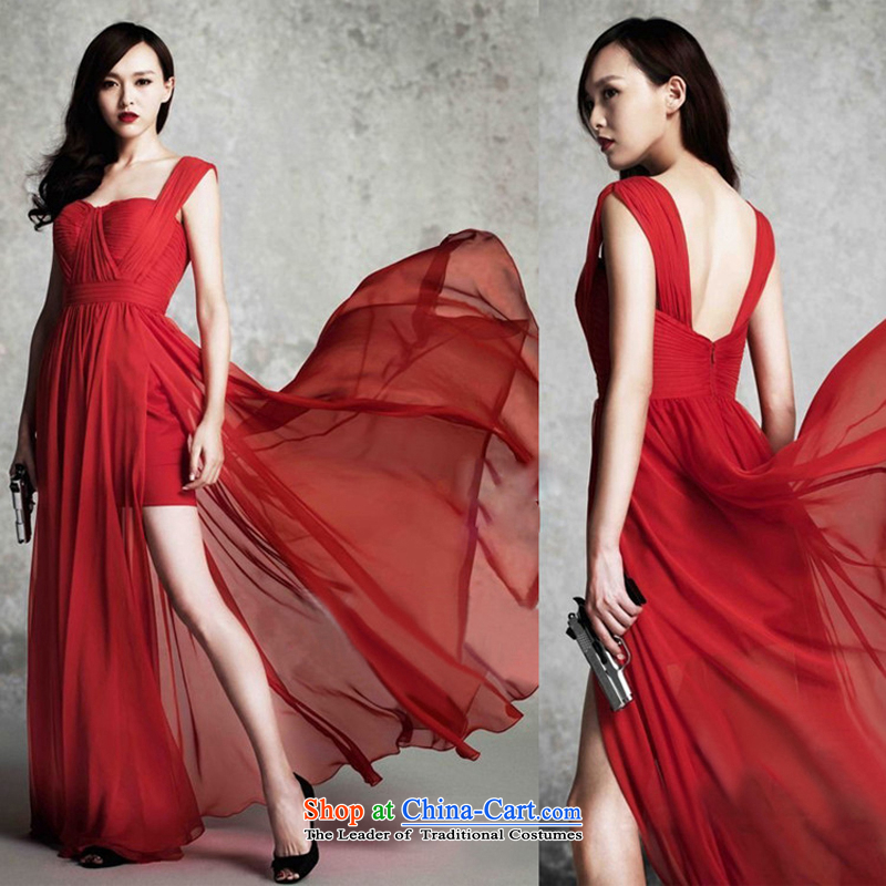Pure Love bamboo yarn long legs dress red dress gliding irrepressible dress suit bows dress brides Sau San dress will stage services red�L