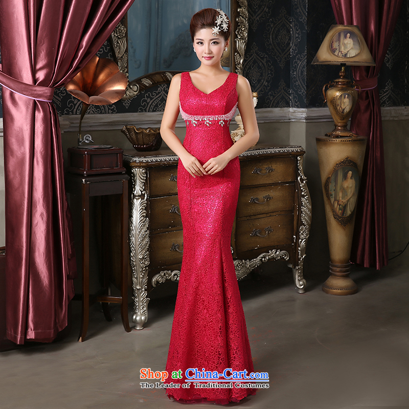 Pure Love bamboo yarn new word shoulder dress upscale Lace Embroidery Pearl evening dresses dress Sau San will dress bridal dresses in red under the auspices of dress banquet XL