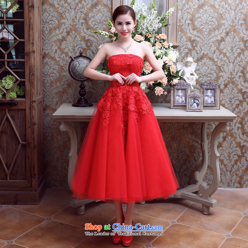 Noritsune bride Wedding 2015 Korean Red long wedding wiping the chest straps dresses marriage bows evening dresses red?XS
