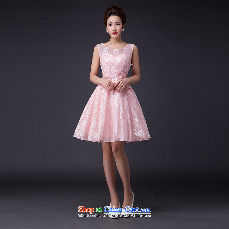 Hei Kaki?2015 new bows dress Korean fashion shoulders evening dresses?V-neck under the auspices of the annual concert dress skirt? JX13 banquet?and pink?M