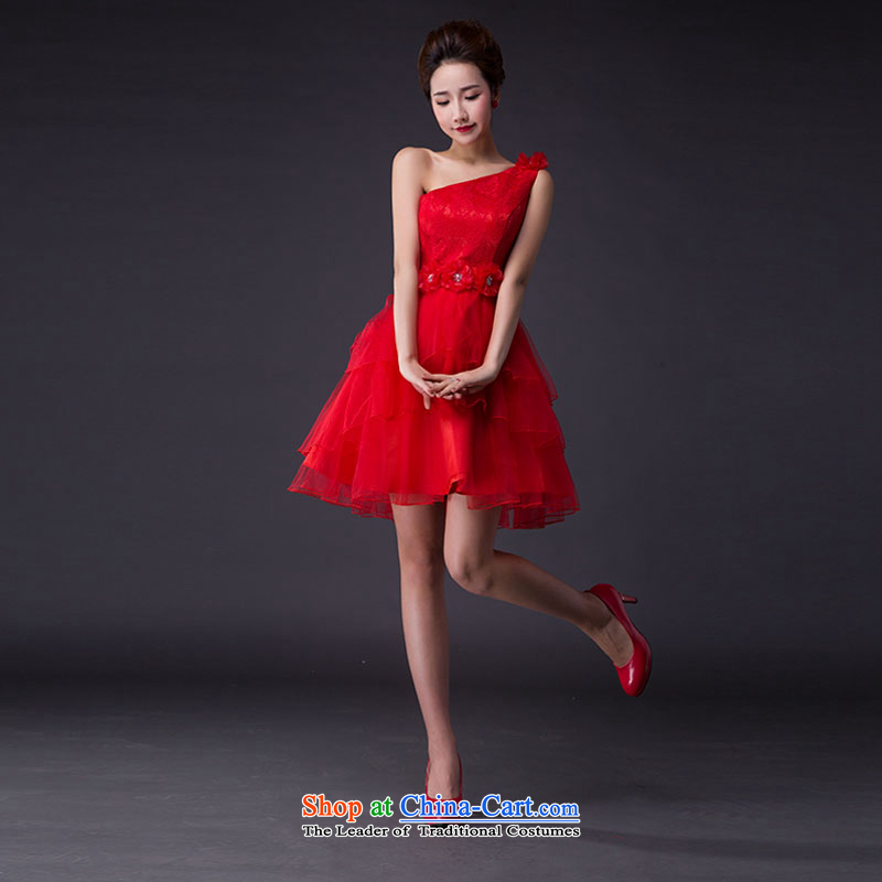 Hei Kaki?2015 new Korean elegant minimalist shoulder layers gauze stereo flowers bridesmaid services services JX08 graduated from red?XL