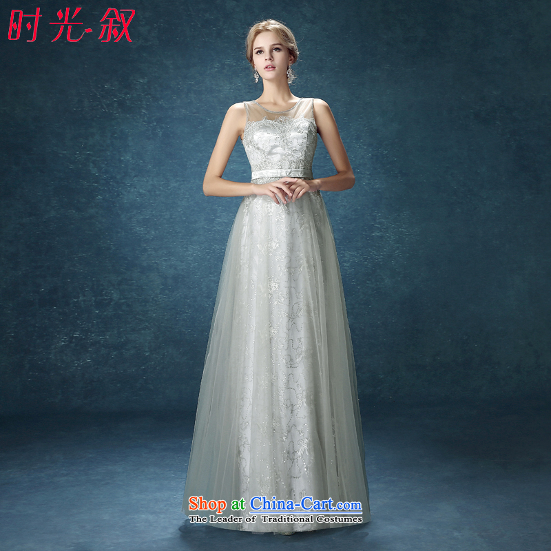 Time Syrian evening dresses 2015 New Long Smoke Gray lace temperament Sau San Wedding banquet service bridesmaid dresses bows will Smoke Gray聽XL