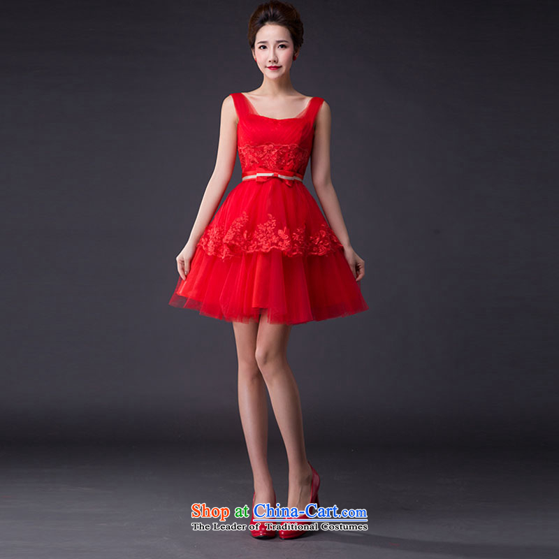 Hei Kaki?2015 new bows dress Korean fashion shoulders evening dresses annual meeting was chaired by performing dress skirt? JX07?red left tailored Size
