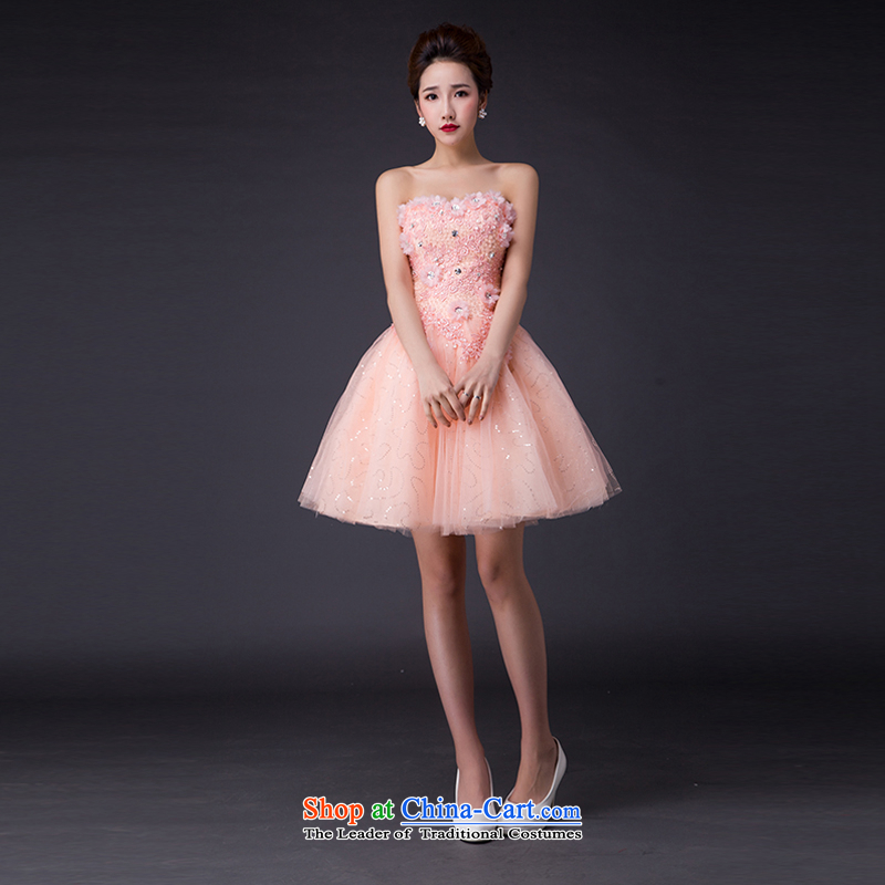 Hei Kaki?2015 new bows dress Korean stylish evening dresses and chest was chaired by annual concert dress? JX12 skirt?and pink?L