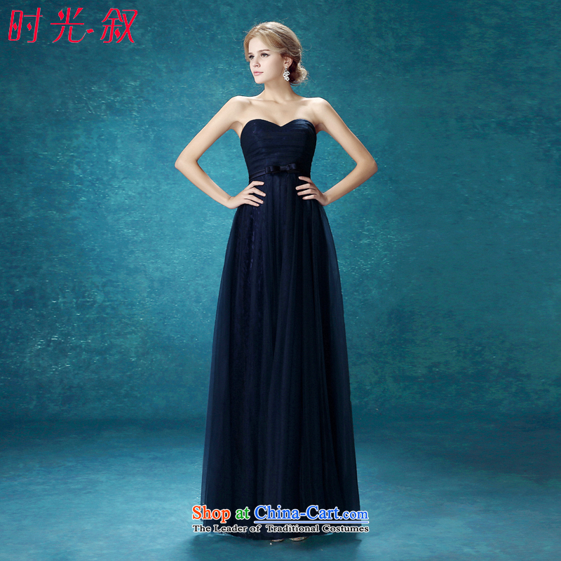 Time Syrian navy blue dress?with the new 2015 chest stylish bride bows services bridesmaid dress banquet night staple wedding-dress stage performance services navy?S