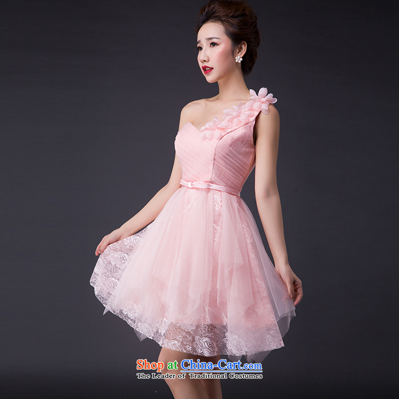 Hei Kaki 2015 new bows dress Korean stylish evening dress shoulder under the auspices of the annual concert dress skirt  JX05 banquet and pink L