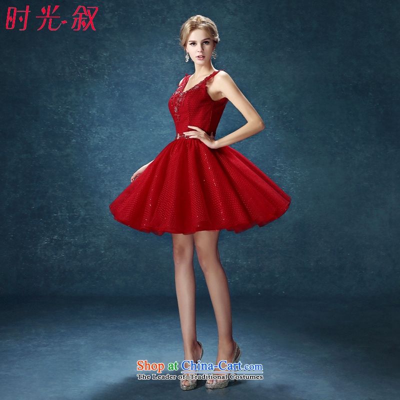 Time the?new 2015 Syria bridesmaid dress bows services marriages stylish red, shoulders of Sau San short Female dress autumn and winter wine red?XL