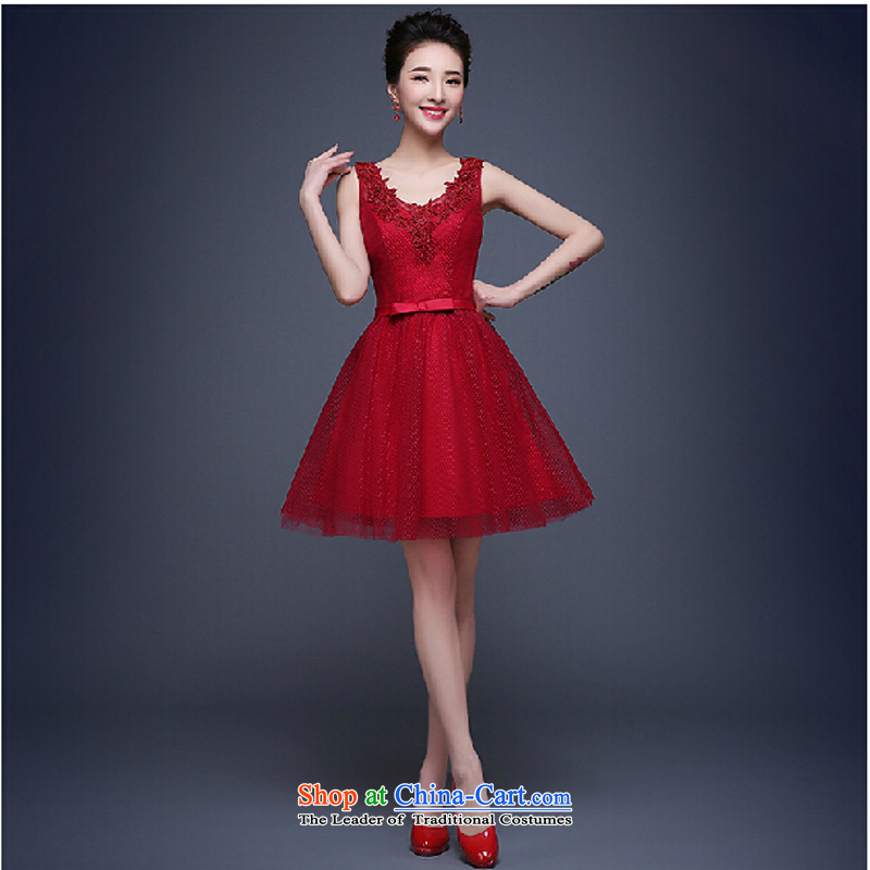 Evening dress new summer 2015 short, banquet dresses dress girl brides bows to marry a stylish field shoulder deep red�S