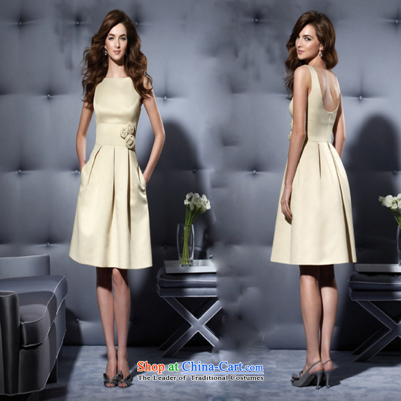 2015 new dress suit small dress bridal dresses skirt bridesmaid skirt bows Service imports satin dress short of thick autumn figure khaki short,?L