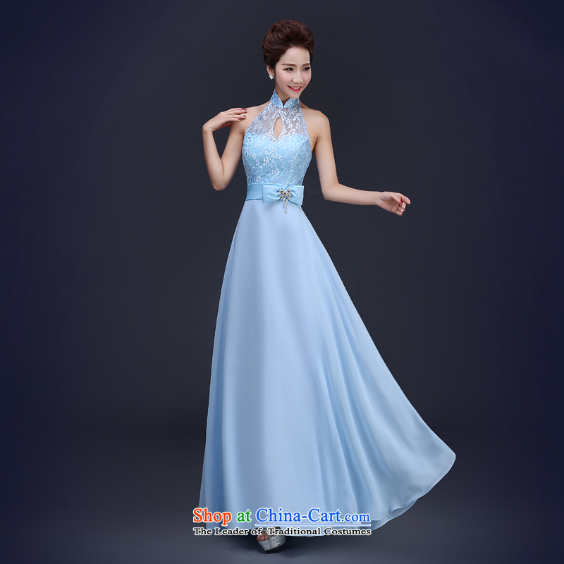 Jie Mia moderator wedding dress winter clothing bride spring bows video thin blue dress female banquet long blue-Western history   B XL