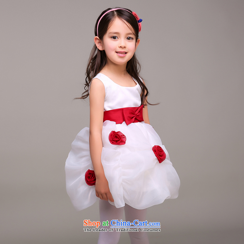 Pure Love bamboo yarn 2015 new flower girl children and of children's wear dress flower dress of children's wear dresses roses child services white?80