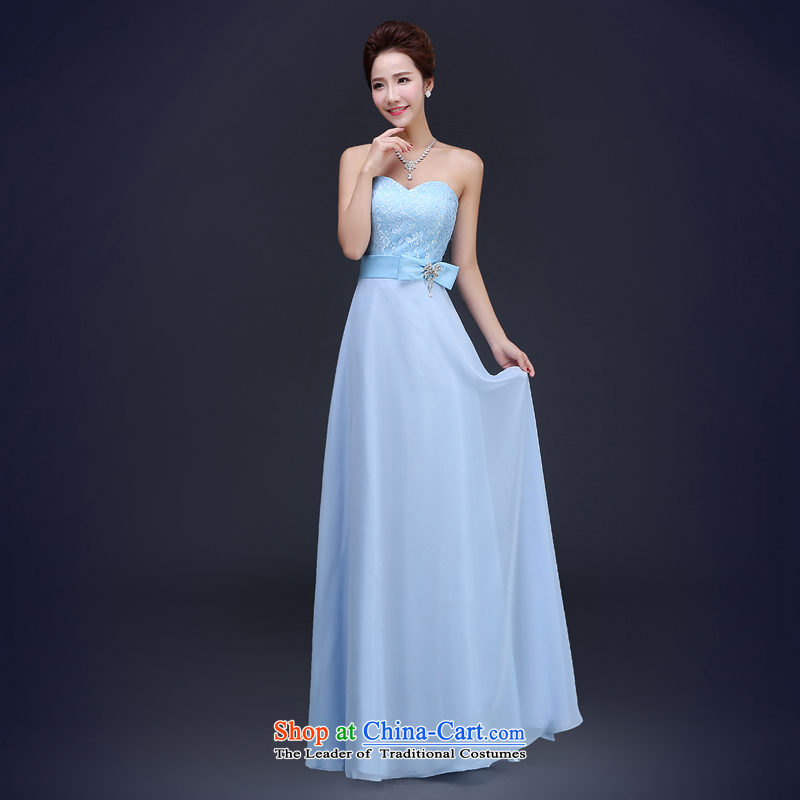 Jie Mija 2015 new head of bridesmaid bridesmaid services and sisters, Ms. skirt stylish wedding dress banquet evening dresses female skyblue anointed chest XS