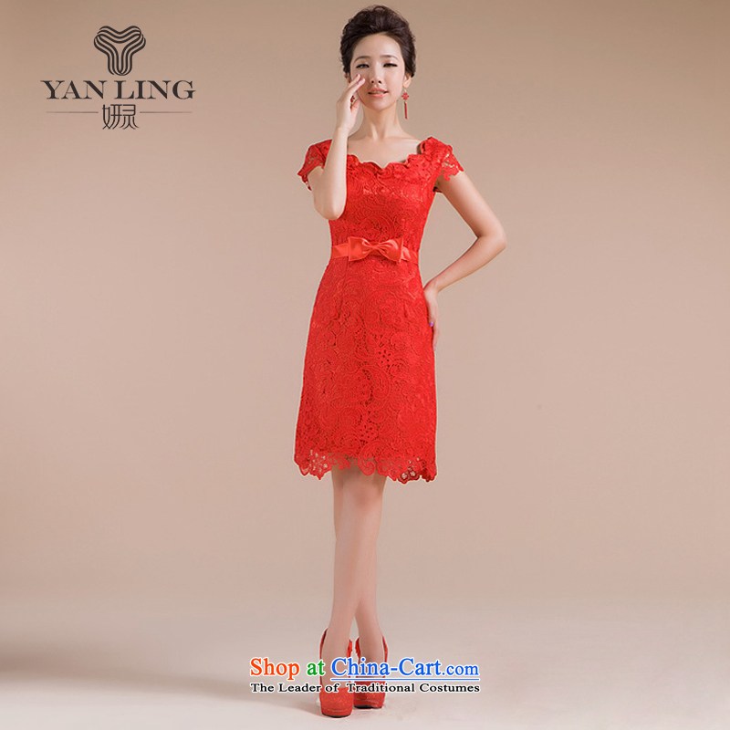 Charlene Choi Ling 2015 new cheongsam spring pack shoulder short, red qipao lace bows service stylish QP-108 RED?XL