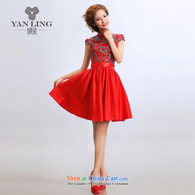 Charlene Choi Ling 2015 stylish short skirts short of Qipao cheongsam wedding dresses improved bride wedding dress cheongsam red?L