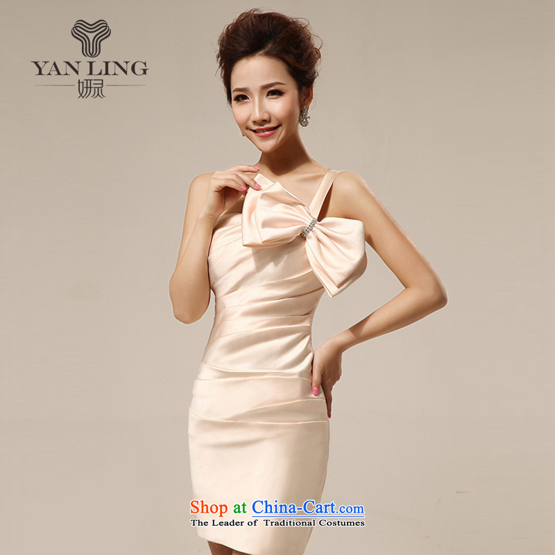 Charlene Choi Ling 2015 bridesmaid short of small dress marriages wedding fashion bow tie bows services bridesmaid LF140 serving champagne color?M