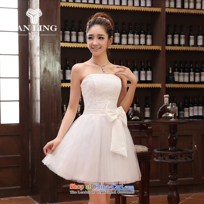 Charlene Choi Ling 2014 lace Wedding Dress Short) bridesmaid mission with short of marriage evening dresses marriage small dress offer?LF112?White?XXL