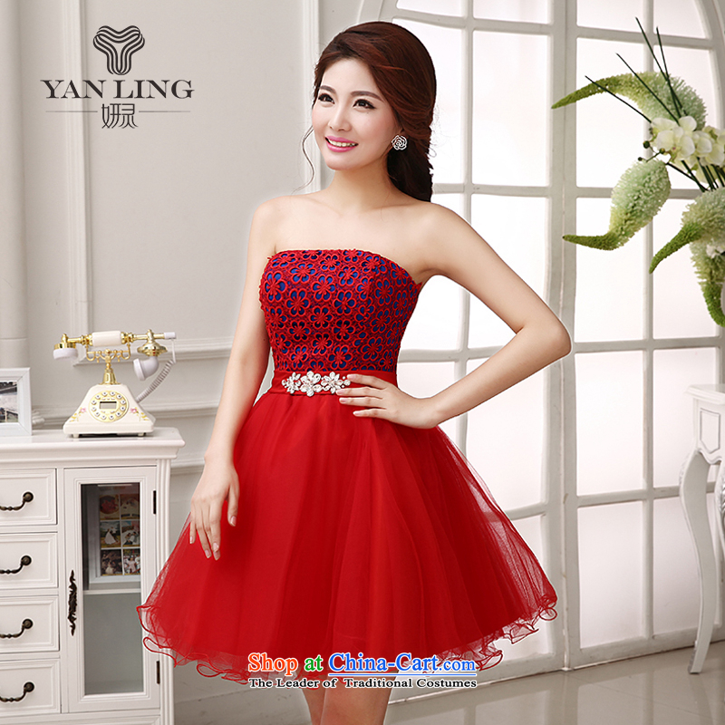 Charlene Choi Spirit bride bows services 2015 dress 2014 Marriage bridesmaid mission betrothal sister mission short of red dress LF204 RED聽XXL