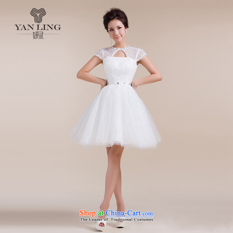 Charlene Choi Ling 2015 new anointed chest engraving a shoulder stylish skirt field small dress bridesmaid services white L