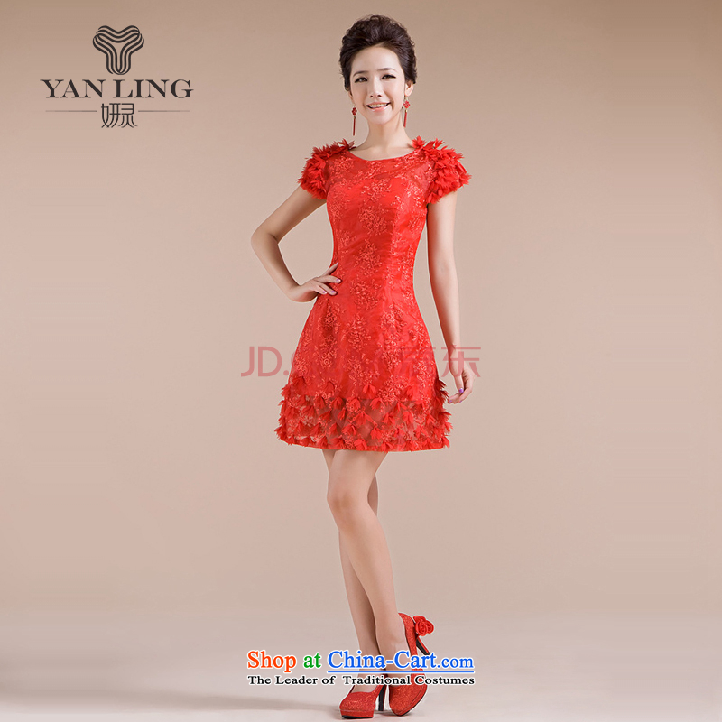 Charlene Choi Ling 2015 new dress threw his shoulders lace skirt as small red dress LF153 Sau San?XXL