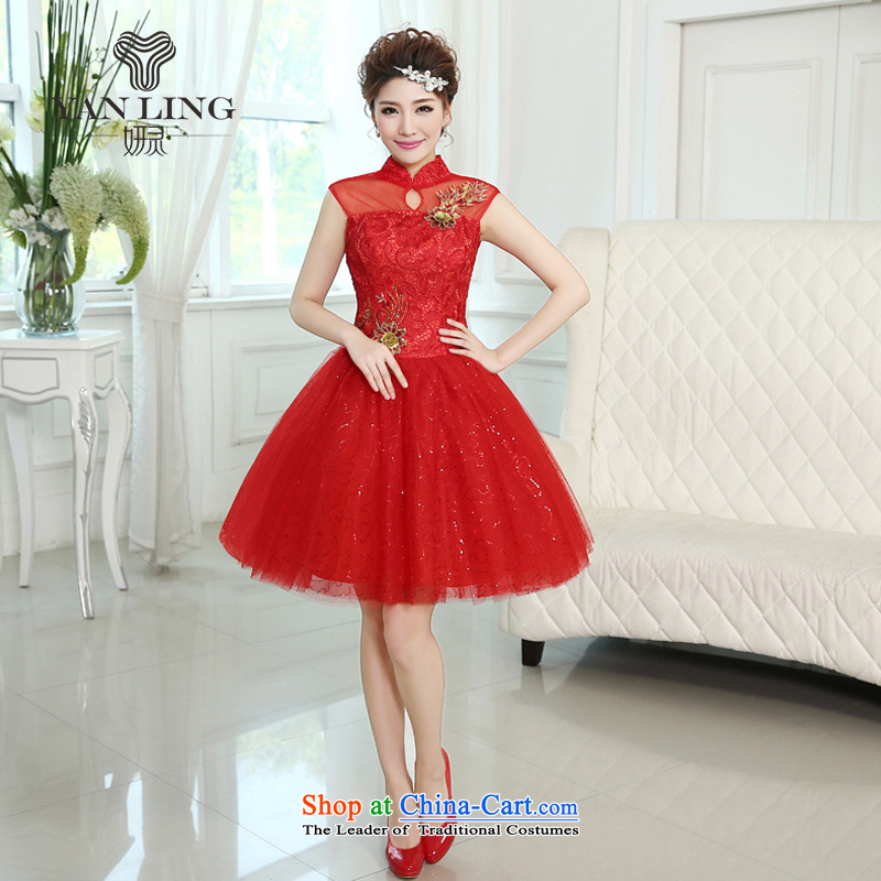 Charlene Choi Spirit New Word 2015 shoulder The Princess Bride bon bon skirt flowers of marriage for short wedding dress bridesmaid skirt LF260 RED M