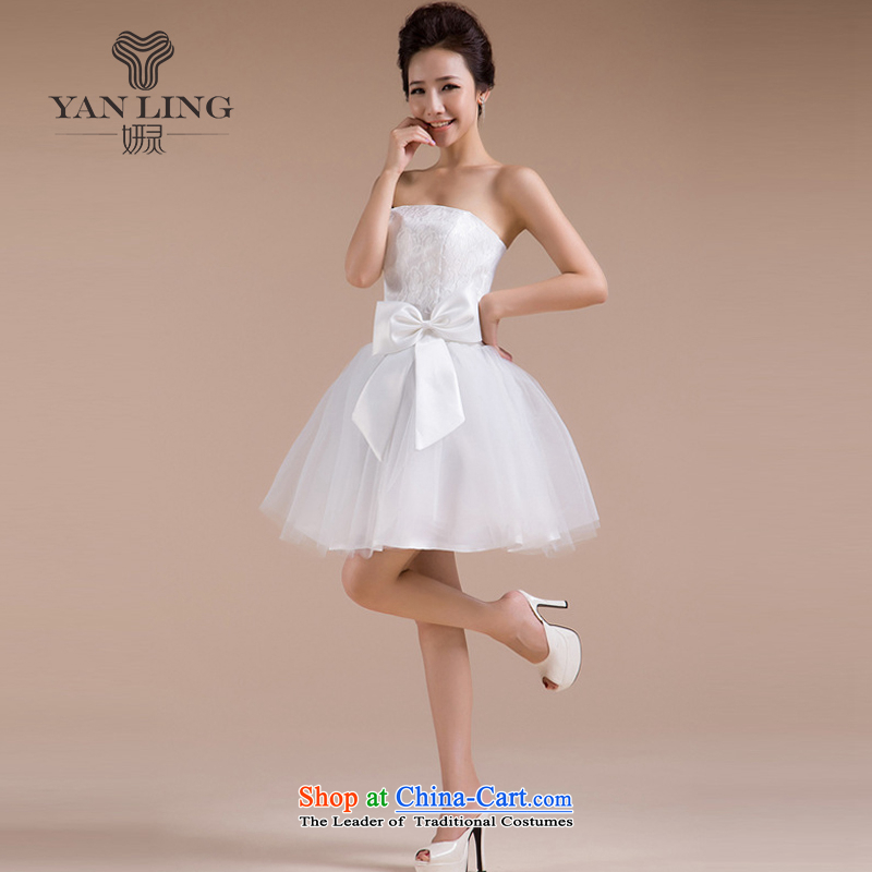 Charlene Choi Ling 2015 new sister in multi-color and feel happy Sau San sweet romantic wedding dresses bridesmaid skirt small LF-70 White聽M