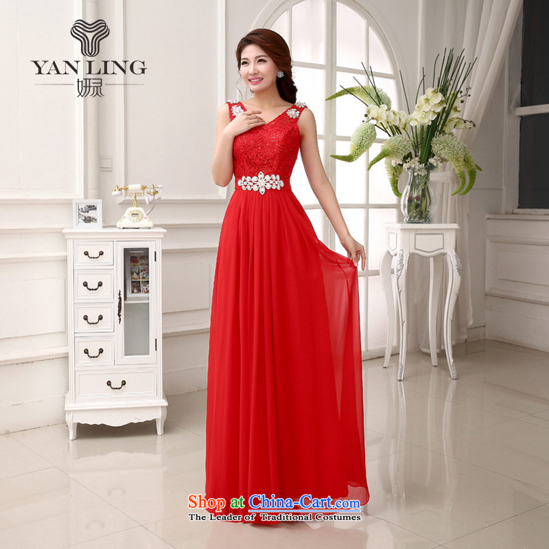 Charlene Choi Ling 2015 New Sau San video thin red chiffon dress shoulders bride services show bridesmaid toasting champagne evening LF231 RED?M