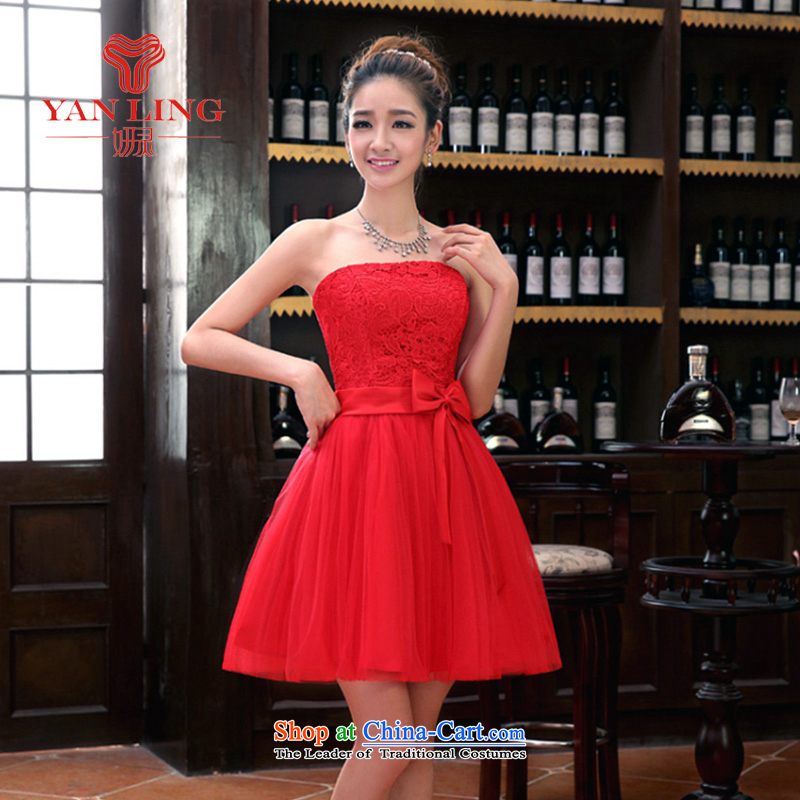 Charlene Choi Ling 2015 new sister bridesmaid mission bridesmaid dress lace anointed chest bow ties small dress evening dress Korean Red聽XL