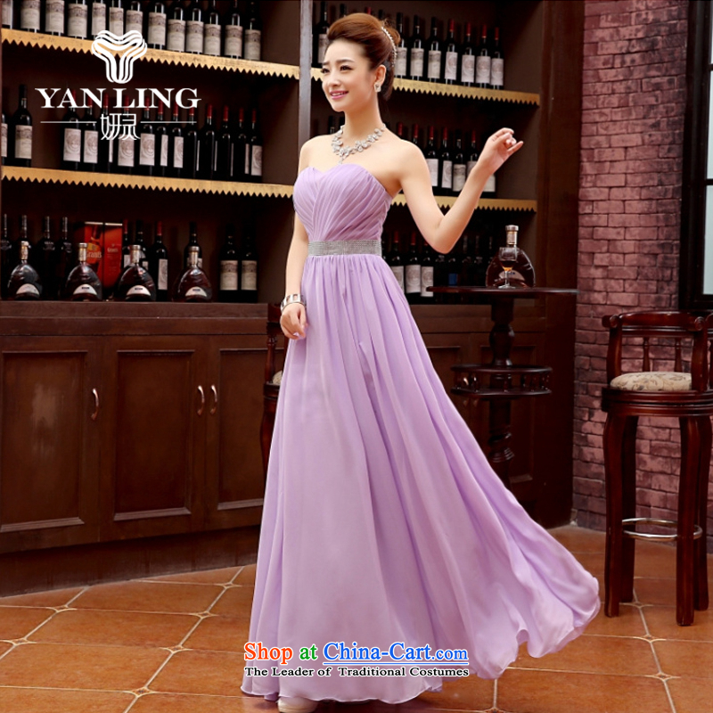 Charlene Choi Ling 2015 new Korean Red single shoulder straps long bride wedding dress bows services evening dresses annual dress purple?L