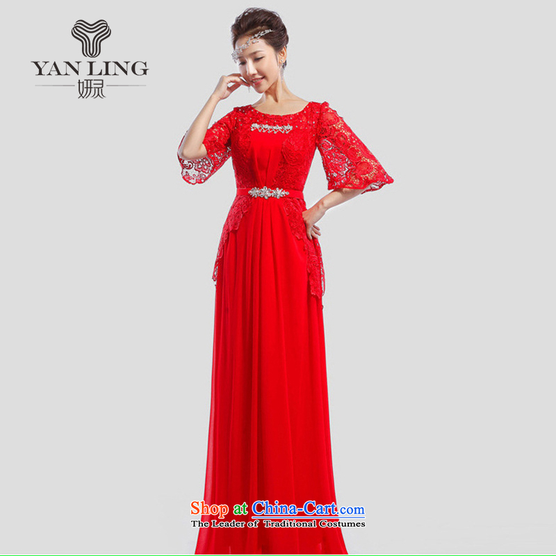 Charlene Choi Ling 2015 new bride bows dress marriage banquet long evening dress LF501 moderator red?XL