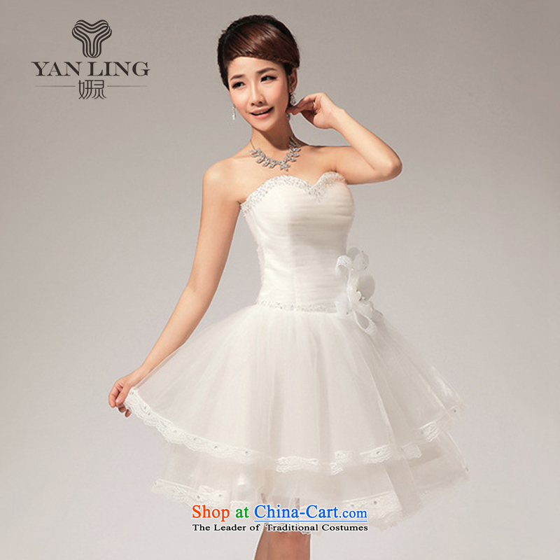 Charlene Choi Ling 2015 Korean anointed chest lace bon bon small dress skirt LF113 White XXL