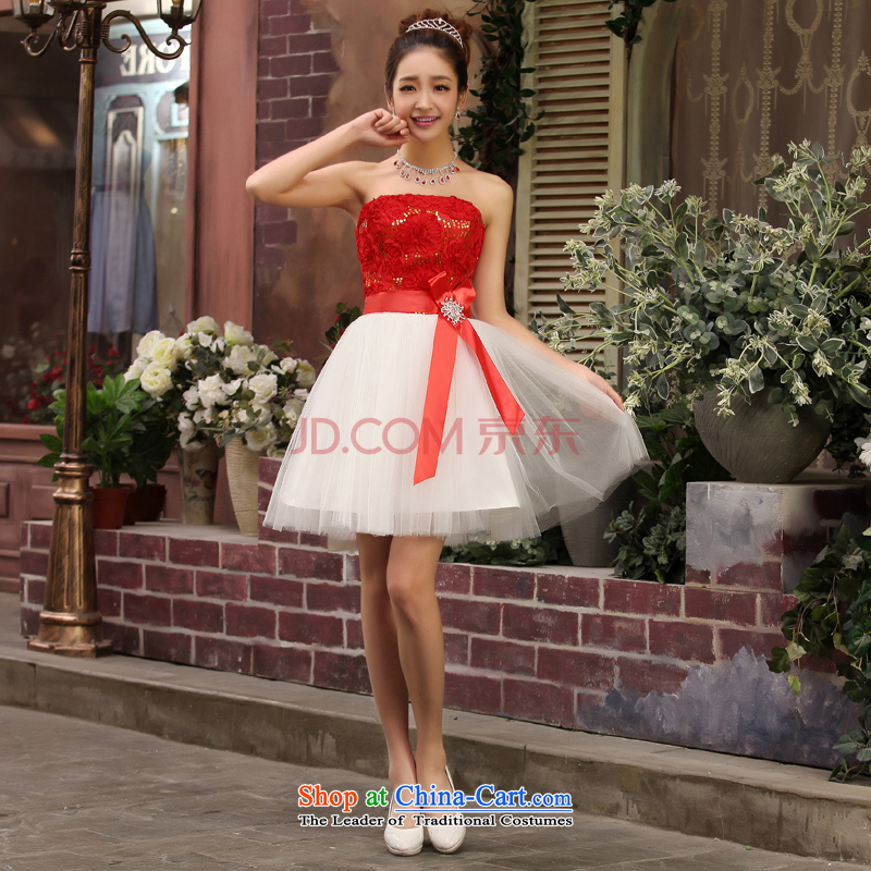 Charlene Choi Ling bridesmaid mission small dress skirt bride bridesmaid service pack wedding dresses marriage bows services bridesmaid M RED?XL