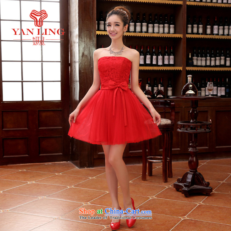 Charlene Choi Ling bridesmaid short of small dress skirt marriages wedding dress stylish lace bows serving dinner serving bridesmaid red XL