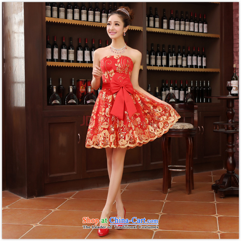 Charlene Choi Ling new small dress skirt bride bridesmaid service pack wedding dresses red bows services with marriage, red short?L
