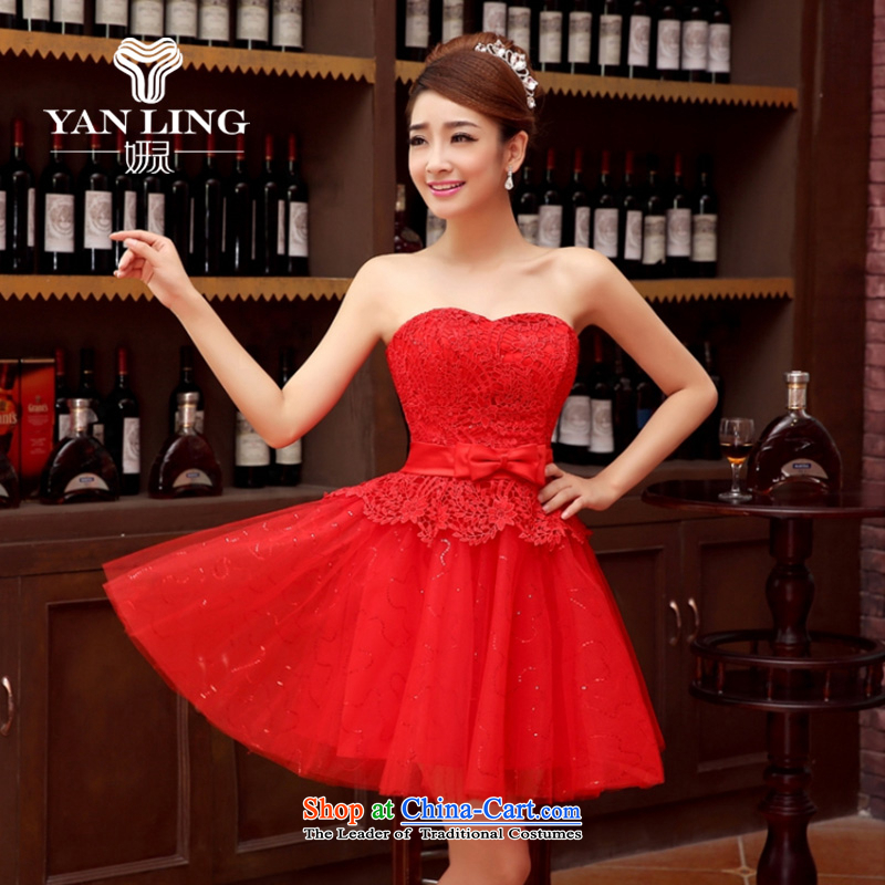 Charlene Choi Ling bridesmaid dress 2015 autumn and winter new bride anointed chest lace dress red bow tie bows serving evening dresses red聽L