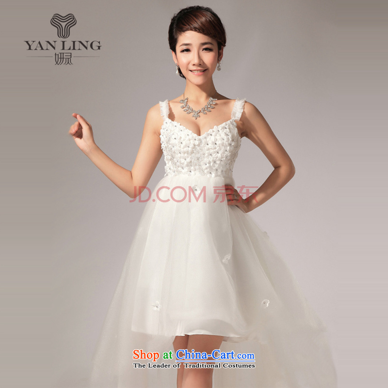 Charlene Choi Ling YANLING anointed, short skirts is chest diamond bridesmaid small dress in lawn before long after short skirt LF116 white?L