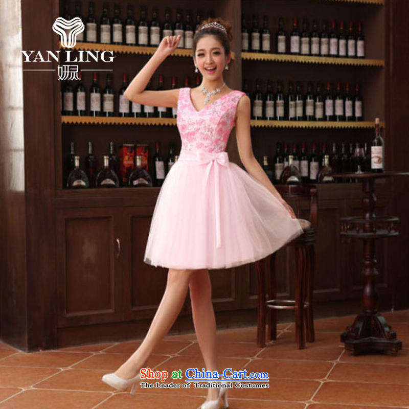 Charlene Choi Ling bridesmaid shoulders V-Neck small dress skirt bride bridesmaid service pack wedding dresses marriage bows services bridesmaid dress with a light purple XL