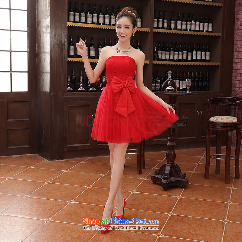 Charlene Choi Ling new 2014 short of princess fall and winter bridesmaid evening dress winter banquet hosted the annual small red dress?L