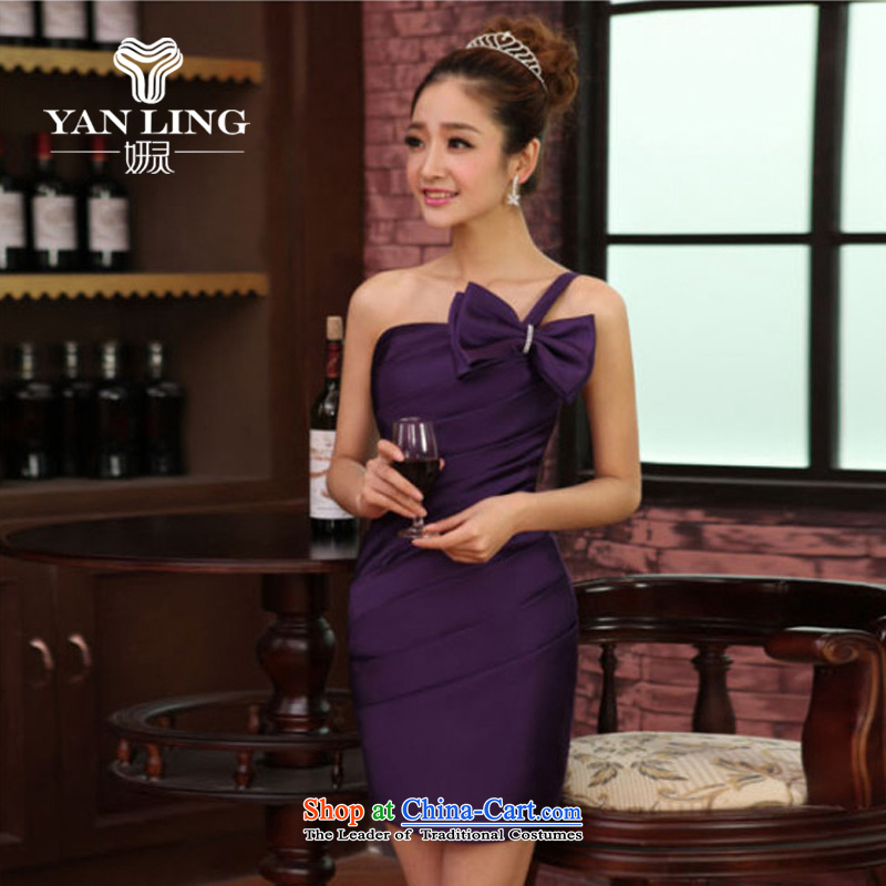 Charlene Choi Ling shoulder Butterfly Festival small dress skirt bride bridesmaid service pack wedding dresses marriage will short) package and purple?XXL
