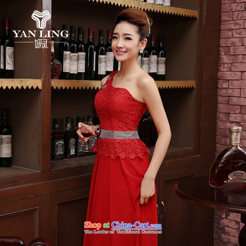 Charlene Choi Ling new 2015 marriages wedding dress bows service long red bridesmaid stylish anointed chest of autumn and winter female red?L