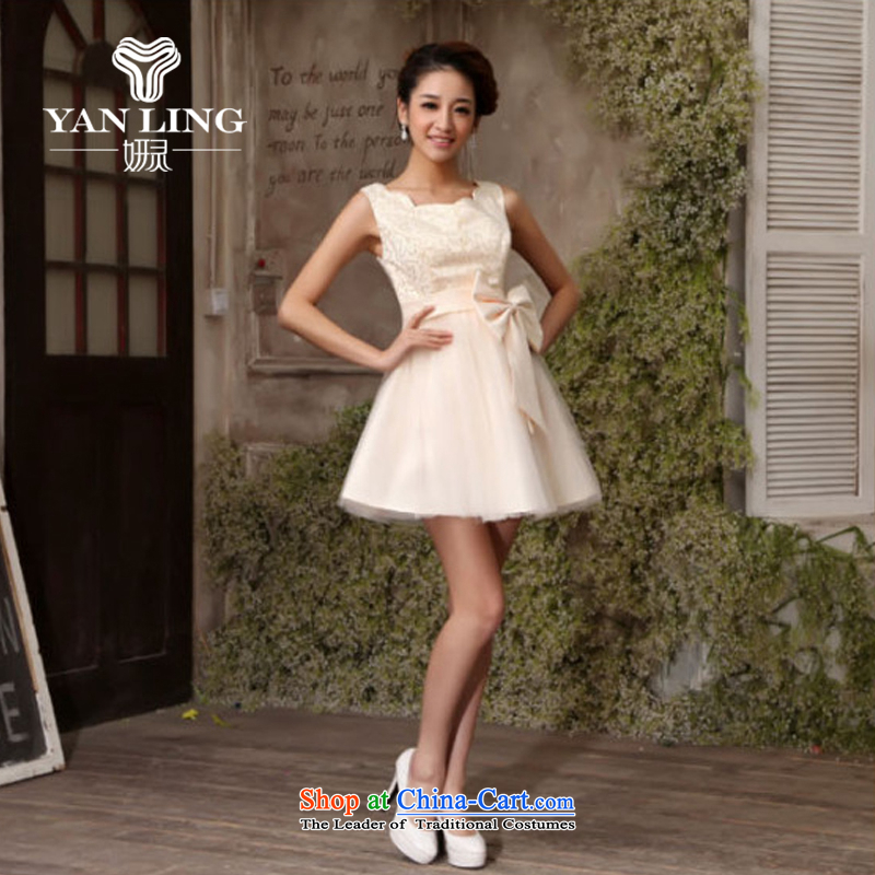 Charlene Choi Ling shoulders bridesmaid mission small dress skirt bride bridesmaid service pack wedding dresses marriage bows service, Champagne champagne color?M