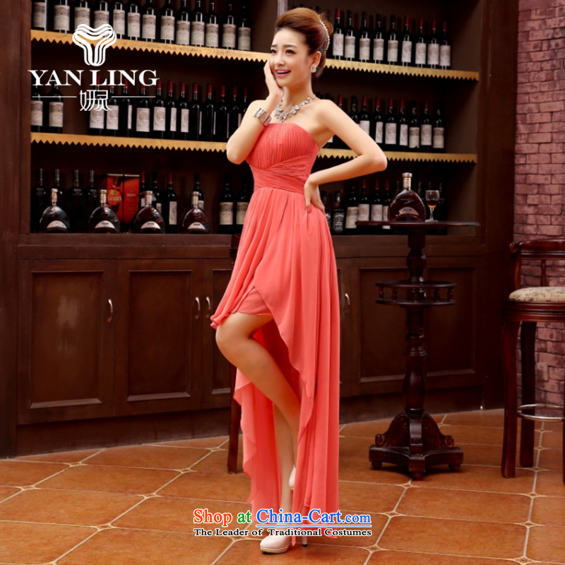 Charlene Choi Ling bridesmaid dress 2015 new bride anointed chest bon bon dress front stub long after serving evening drink strap evening rose?L