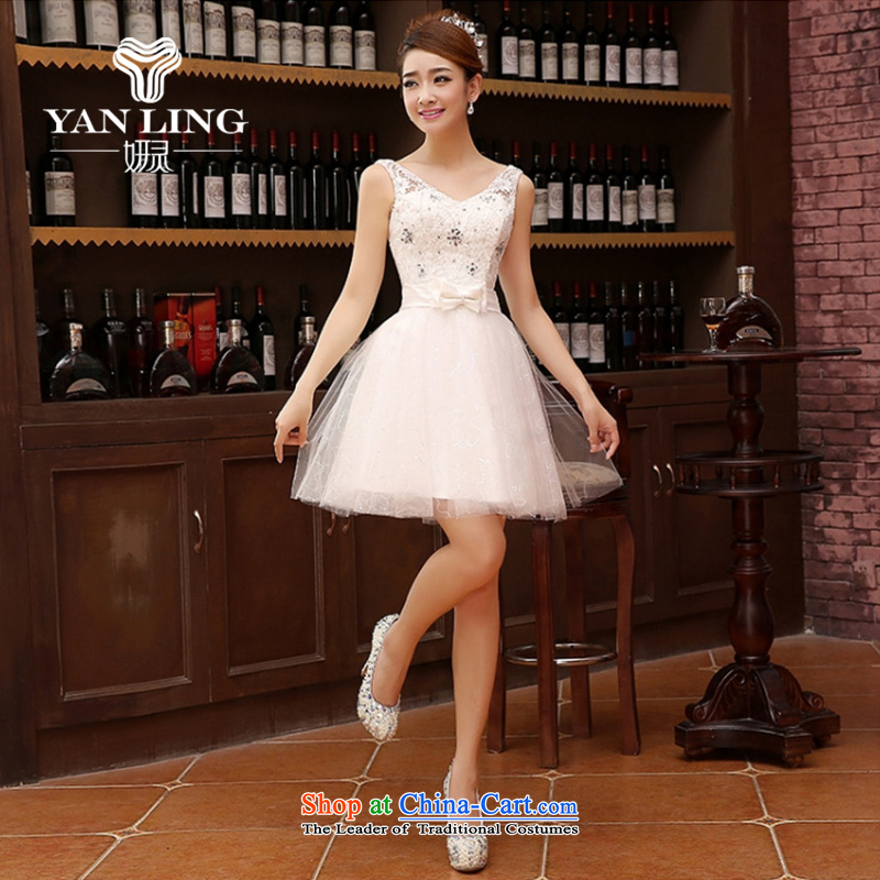 Charlene Choi Ling marriage wedding dresses short) equipped bridesmaid to bind with short of marriage evening dresses marriage small dress White?M
