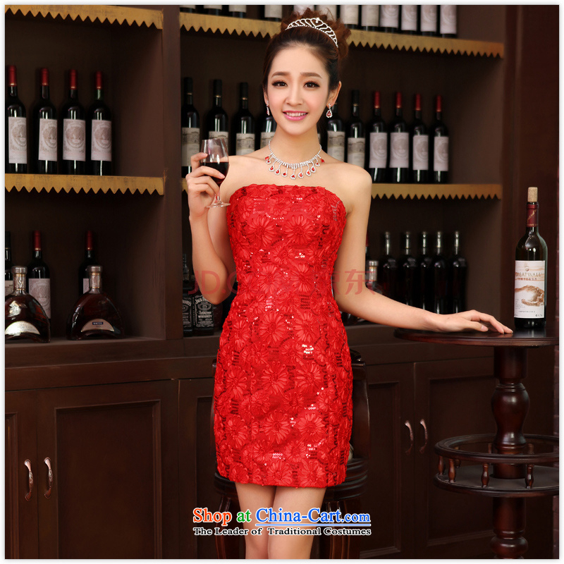 Charlene Choi Ling new small dress skirt bride bridesmaid service pack wedding dresses marriage bows with short of integrated services red?L