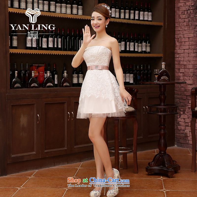 Charlene Choi Ling marriage wedding dresses short) equipped bridesmaid to bind with short of marriage evening dresses marriage small gift White?XXL
