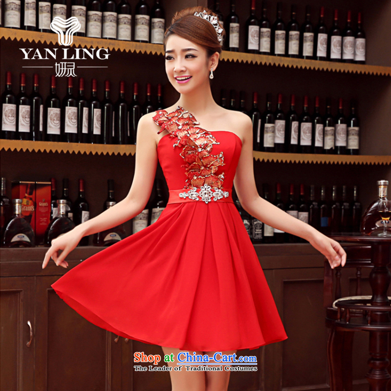 Charlene Choi Ling marriage wedding dresses short) equipped bridesmaid to bind with short of marriage evening dresses marriage small red dress?XL
