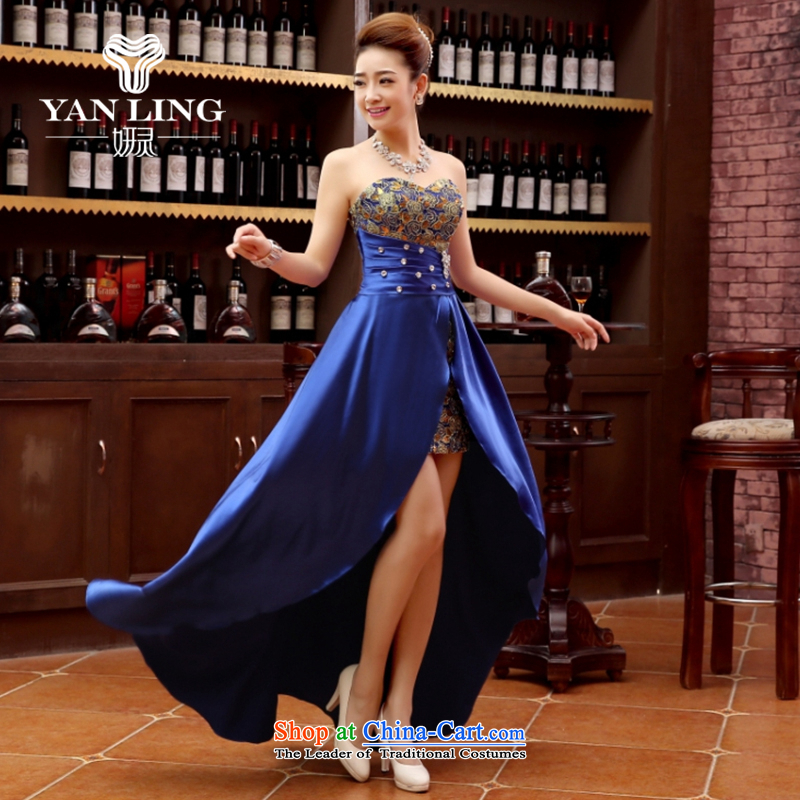 Charlene Choi Ling marriage wedding dresses short) equipped bridesmaid to bind with short of marriage evening dresses marriage small blue dress?M