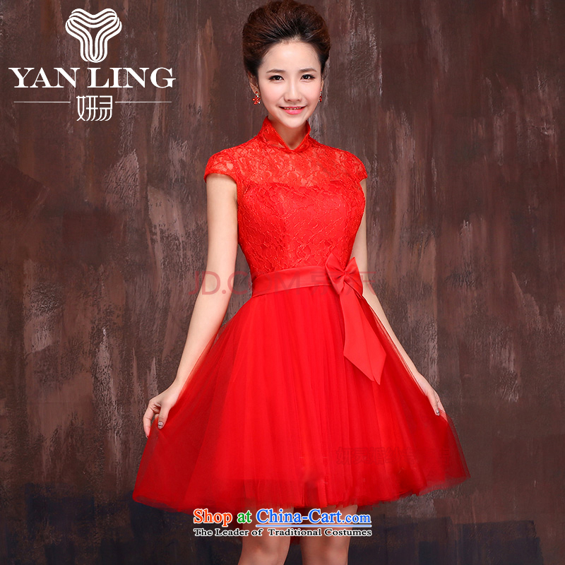 Charlene Choi Ling 2015 new wedding dress bridesmaid service wedding dresses bride bows services evening dress short, shoulder strap red L